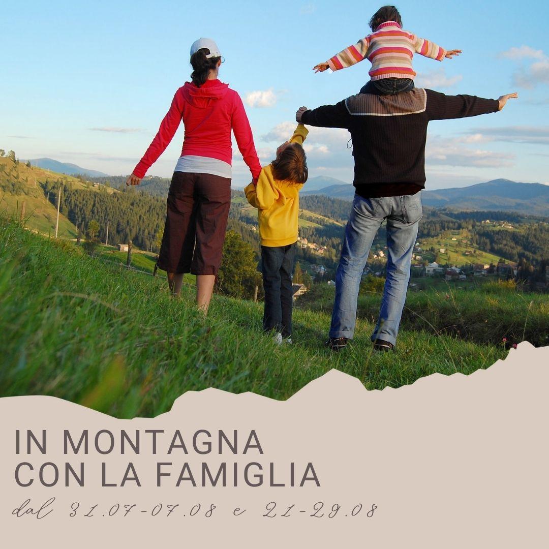 in montagna con la famiglia